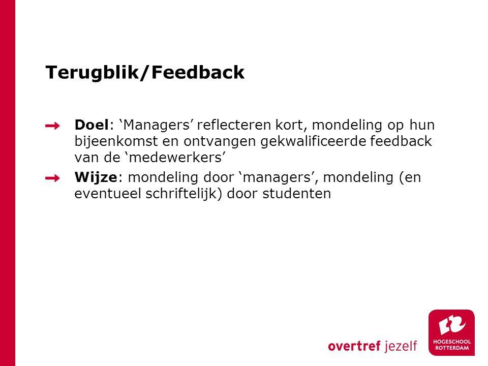 Terugblik/Feedback Doel: 'Managers' reflecteren kort, mondeling op hun bijeenkomst en ontvangen gekwalificeerde feedback van de 'medewerkers'
