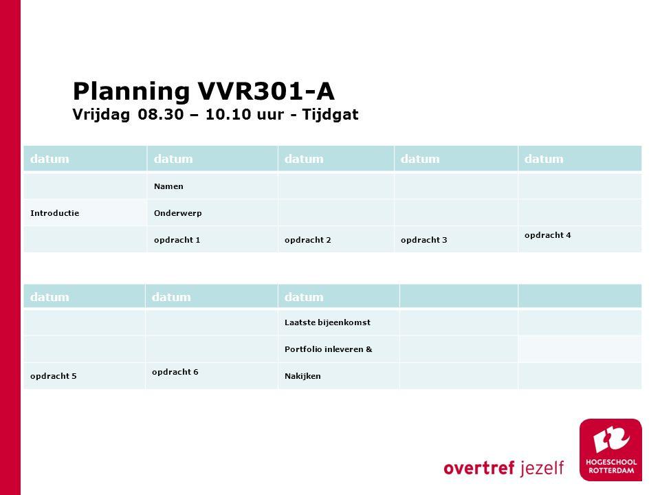 Planning VVR301-A Vrijdag 08.30 – 10.10 uur - Tijdgat