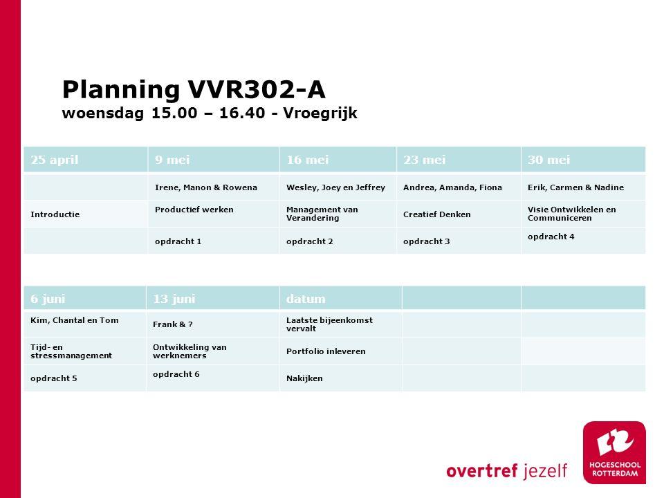 Planning VVR302-A woensdag 15.00 – 16.40 - Vroegrijk