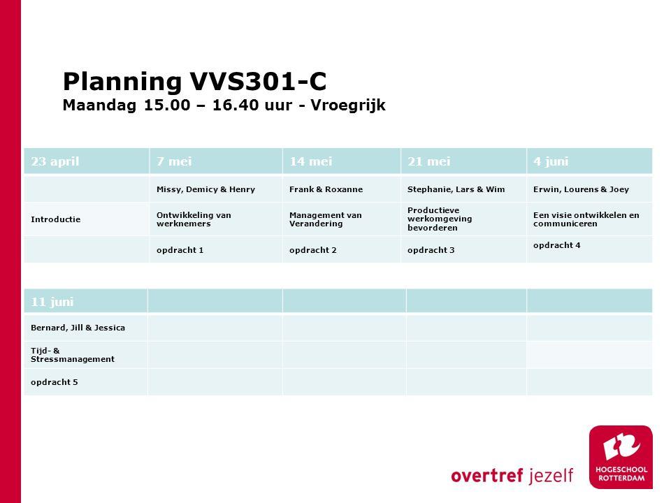 Planning VVS301-C Maandag 15.00 – 16.40 uur - Vroegrijk