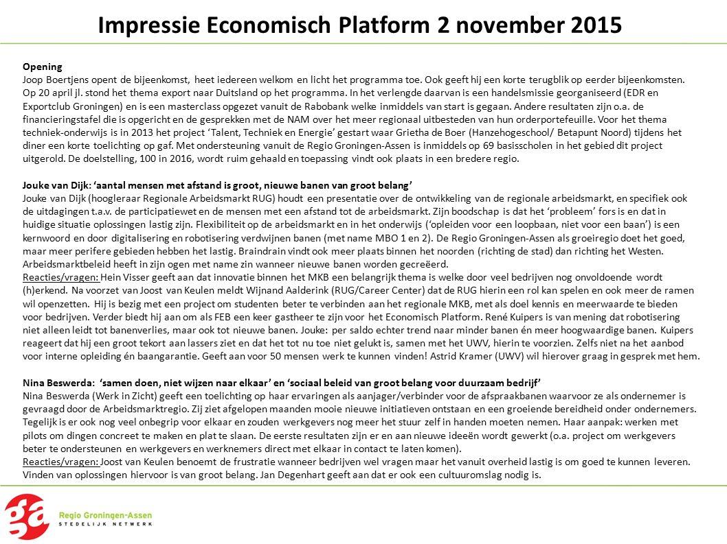Impressie Economisch Platform 2 november 2015