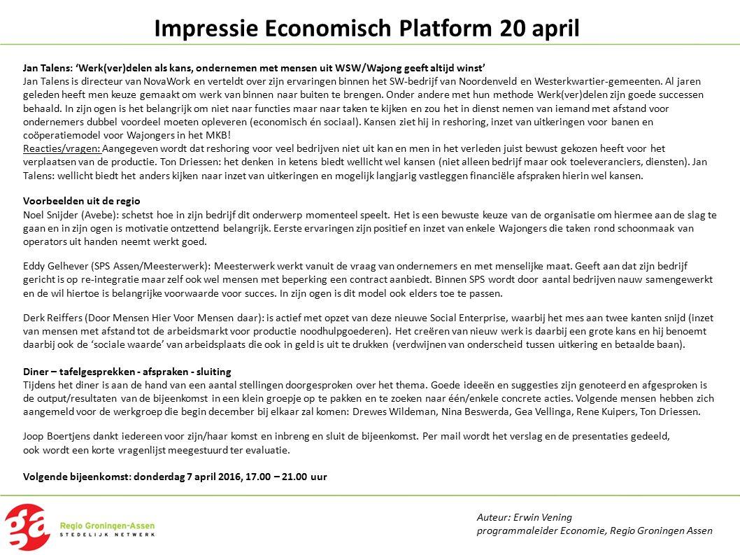Impressie Economisch Platform 20 april