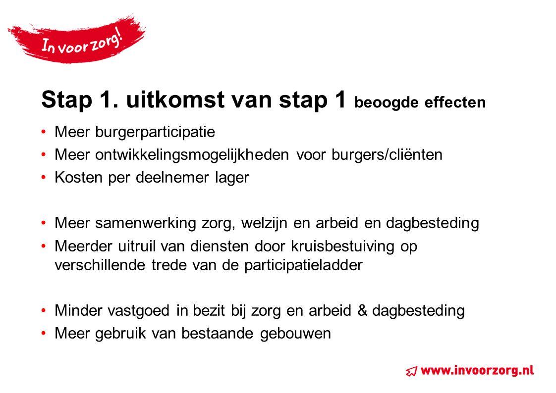 Stap 1. uitkomst van stap 1 beoogde effecten