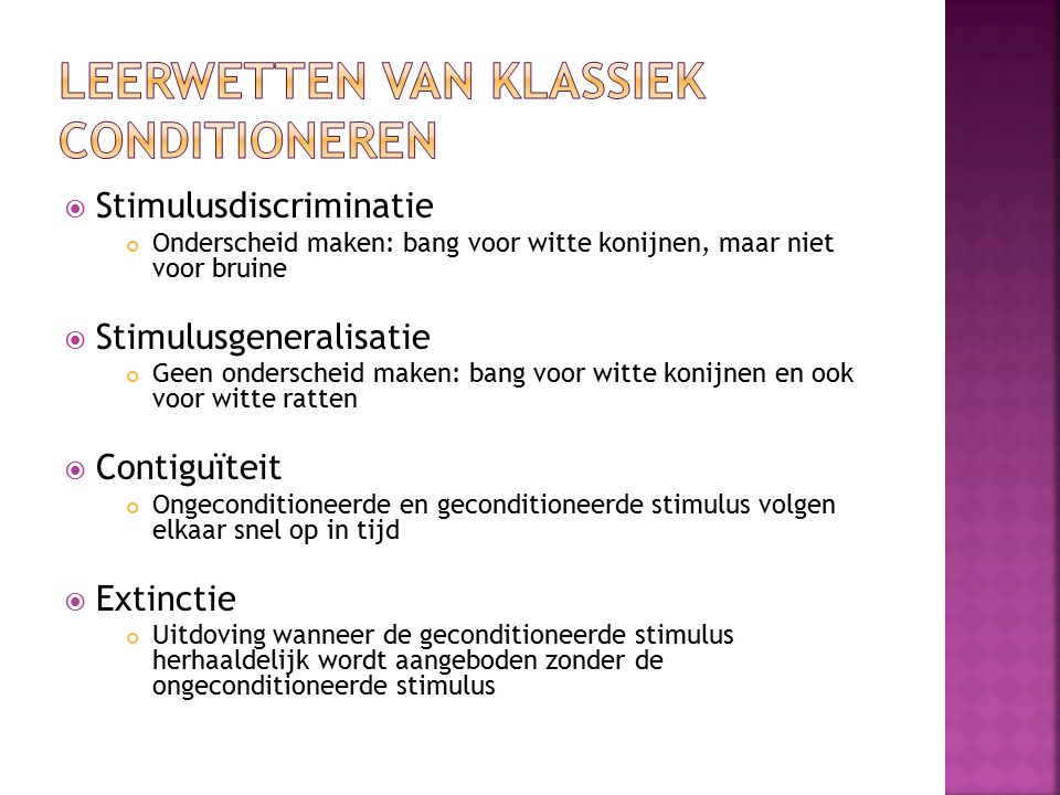 Leerwetten van klassiek conditioneren