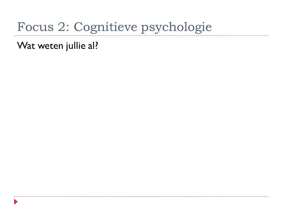 Focus 2: Cognitieve psychologie
