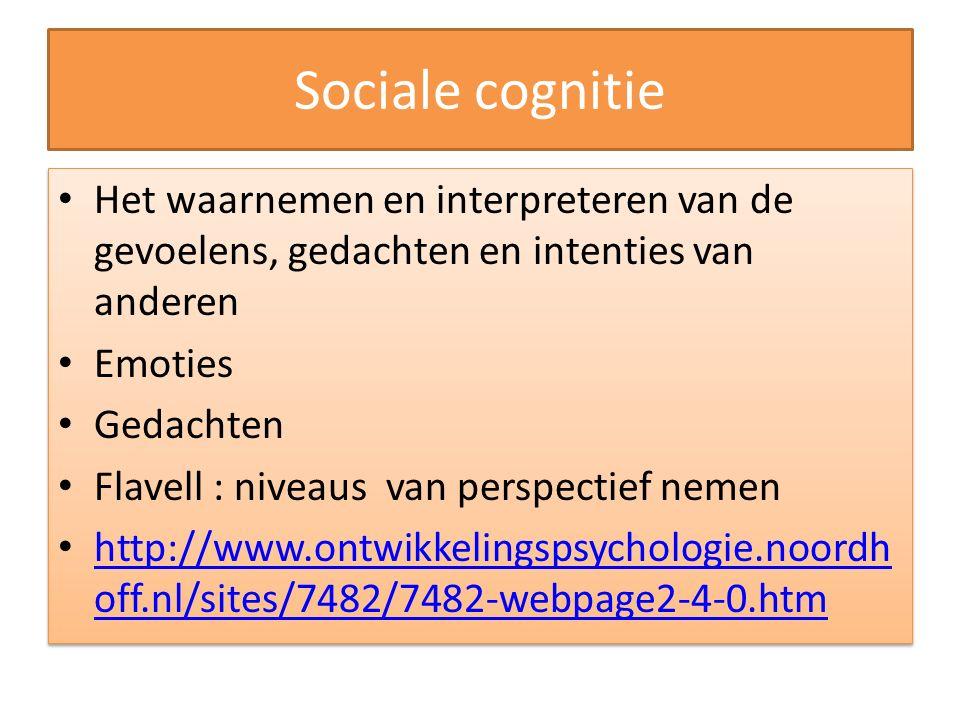 Sociale cognitie Het waarnemen en interpreteren van de gevoelens, gedachten en intenties van anderen.