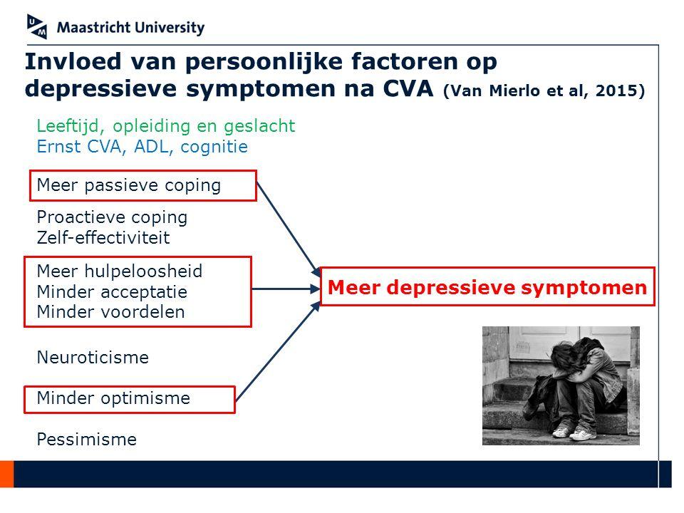 Invloed van persoonlijke factoren op depressieve symptomen na CVA (Van Mierlo et al, 2015)