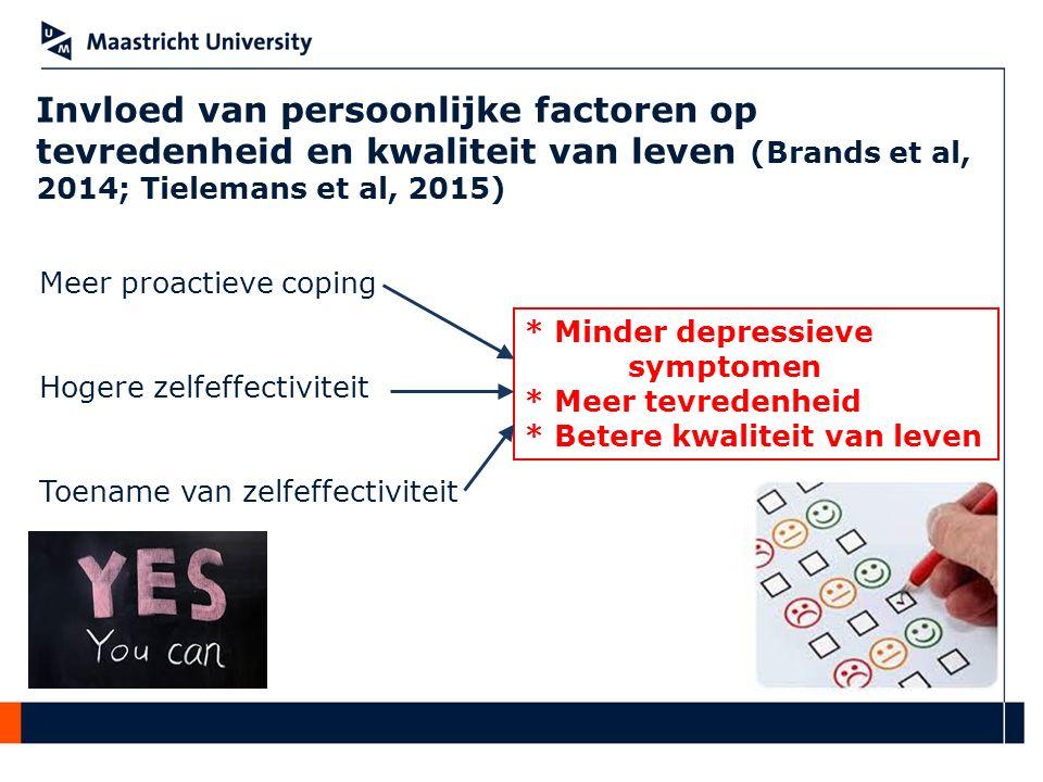 Invloed van persoonlijke factoren op tevredenheid en kwaliteit van leven (Brands et al, 2014; Tielemans et al, 2015)