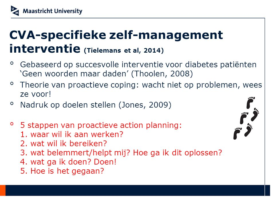CVA-specifieke zelf-management interventie (Tielemans et al, 2014)
