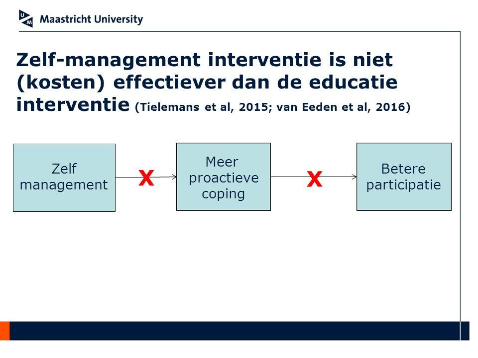 Zelf-management interventie is niet (kosten) effectiever dan de educatie interventie (Tielemans et al, 2015; van Eeden et al, 2016)