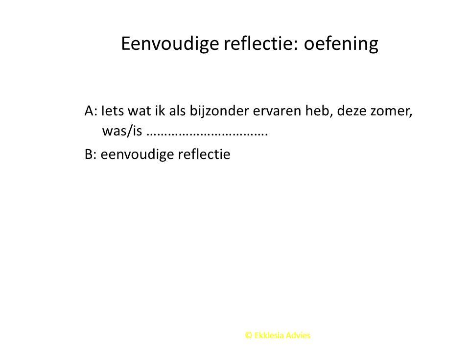 Eenvoudige reflectie: oefening