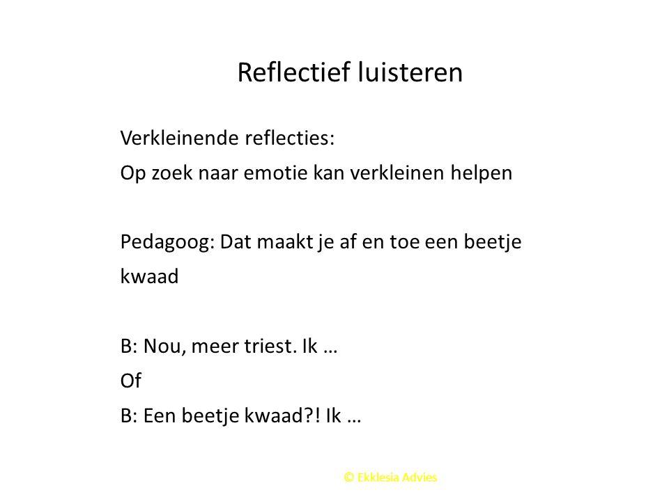 Reflectief luisteren Verkleinende reflecties: