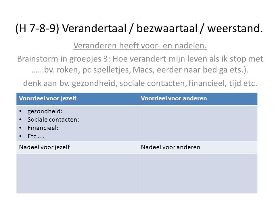 (H 7-8-9) Verandertaal / bezwaartaal / weerstand.