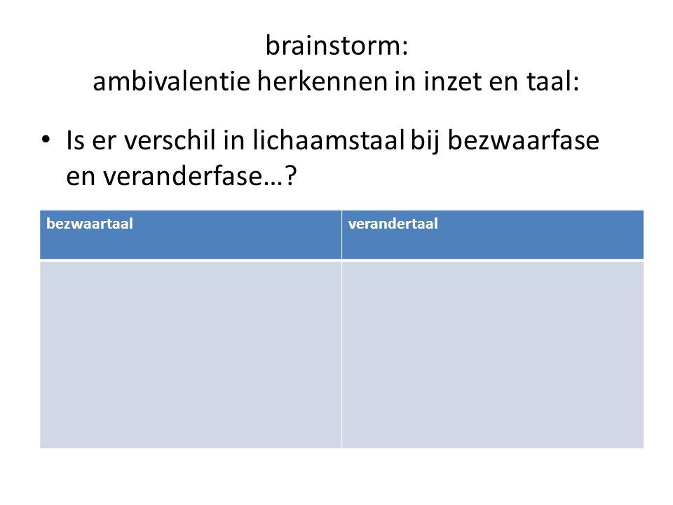 brainstorm: ambivalentie herkennen in inzet en taal: