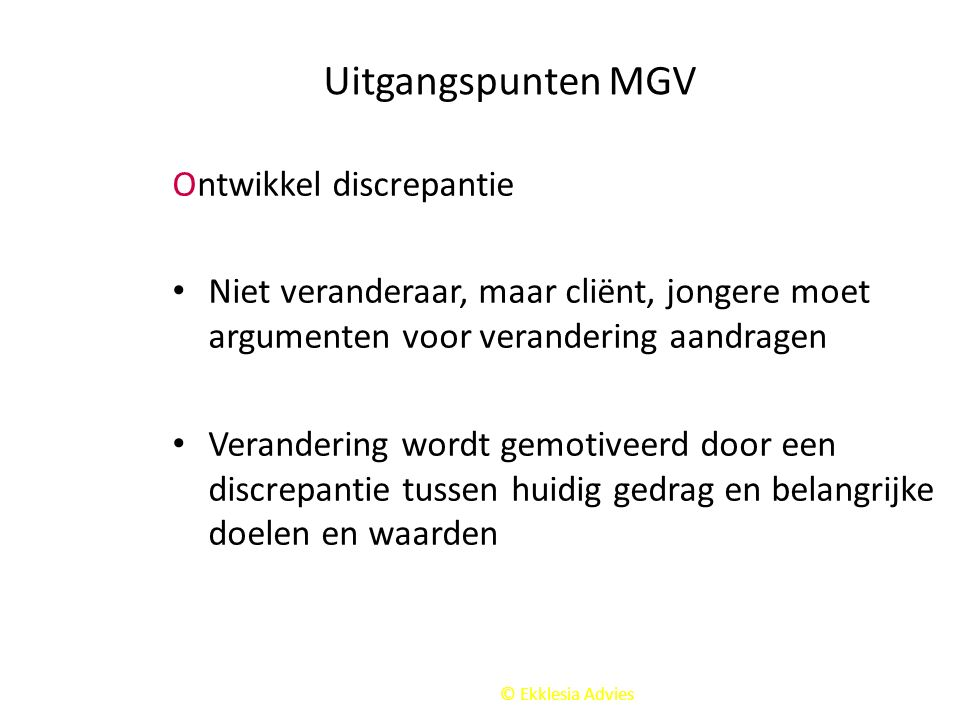 Uitgangspunten MGV Ontwikkel discrepantie