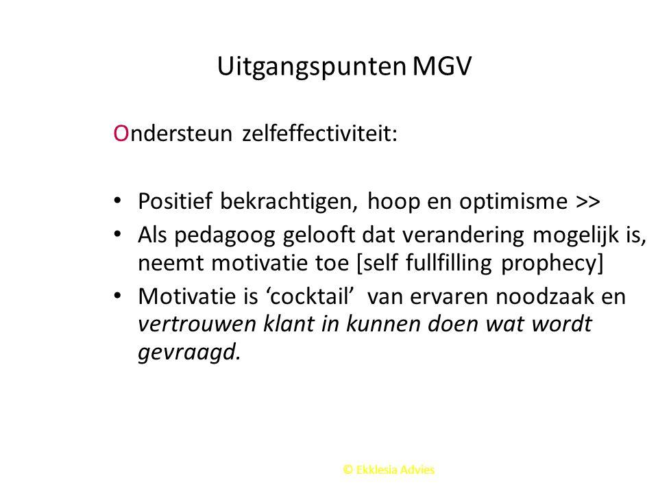 Uitgangspunten MGV Ondersteun zelfeffectiviteit: