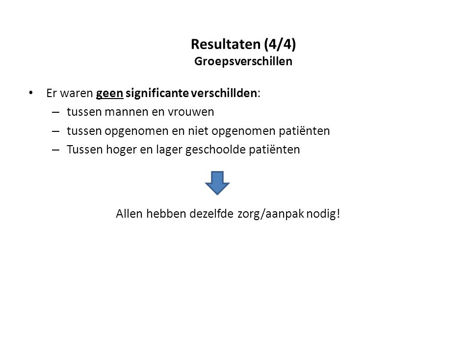 Resultaten (4/4) Groepsverschillen