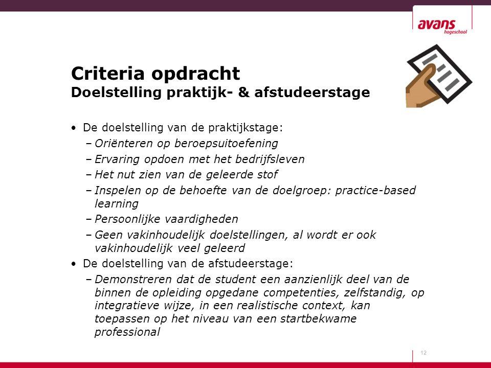 Criteria opdracht Doelstelling praktijk- & afstudeerstage