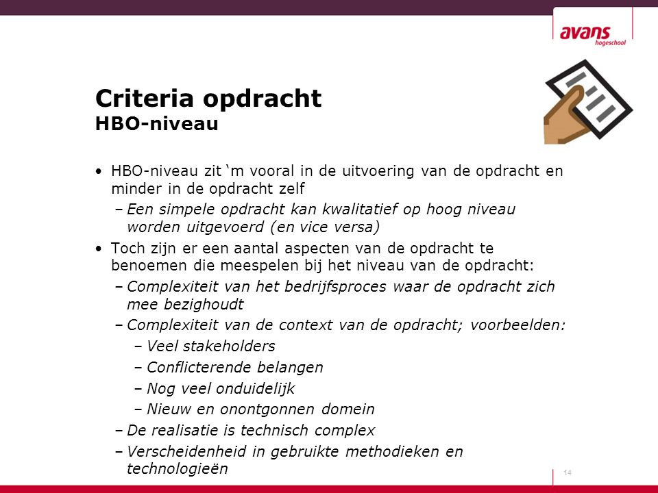 Criteria opdracht HBO-niveau