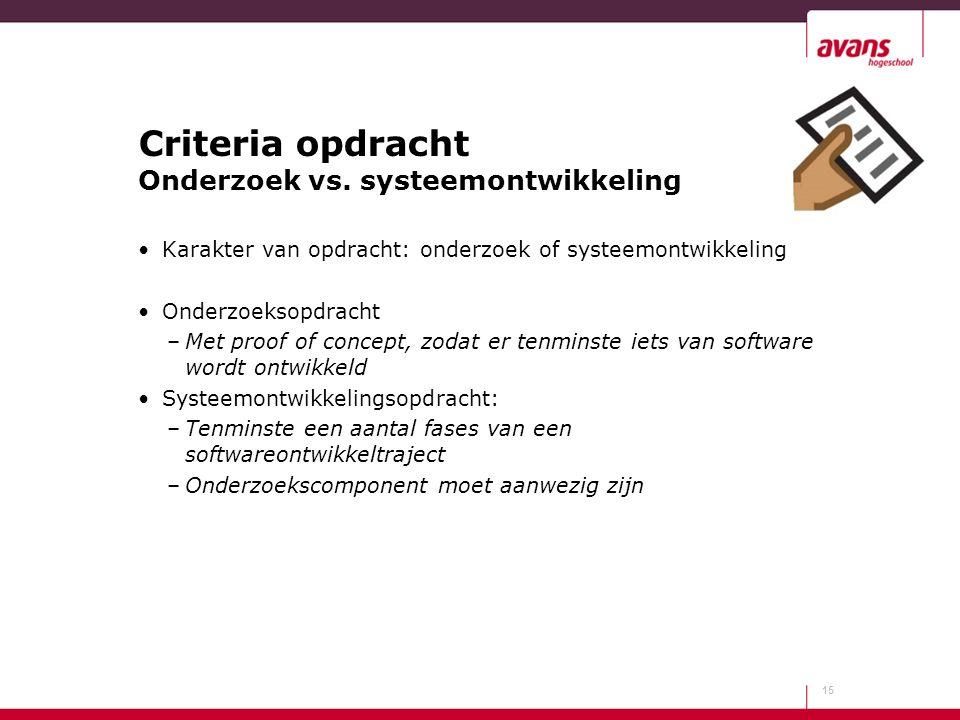 Criteria opdracht Onderzoek vs. systeemontwikkeling