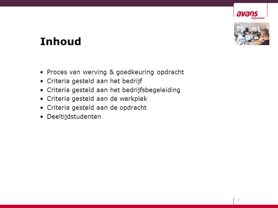 Inhoud Proces van werving & goedkeuring opdracht
