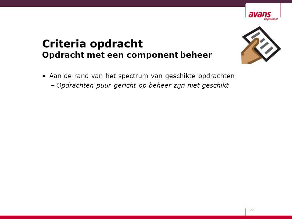 Criteria opdracht Opdracht met een component beheer