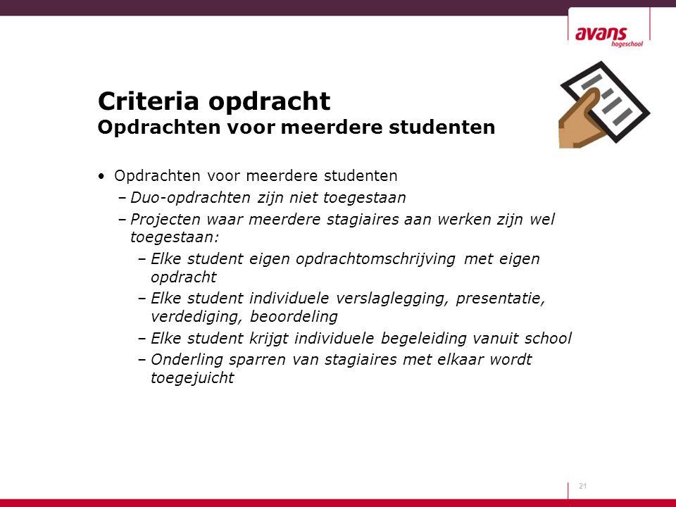 Criteria opdracht Opdrachten voor meerdere studenten