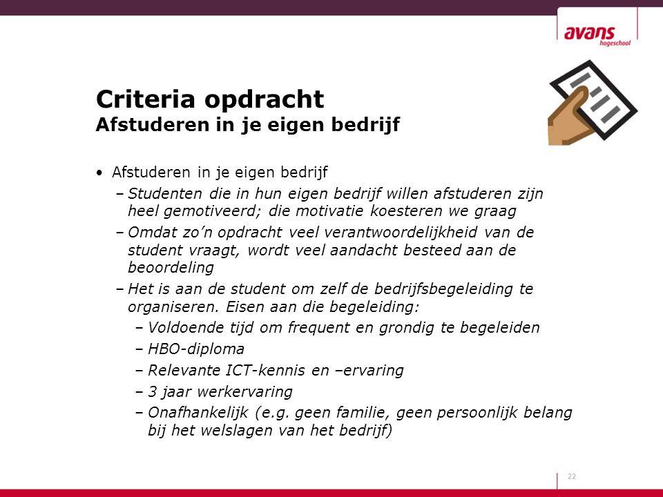 Criteria opdracht Afstuderen in je eigen bedrijf