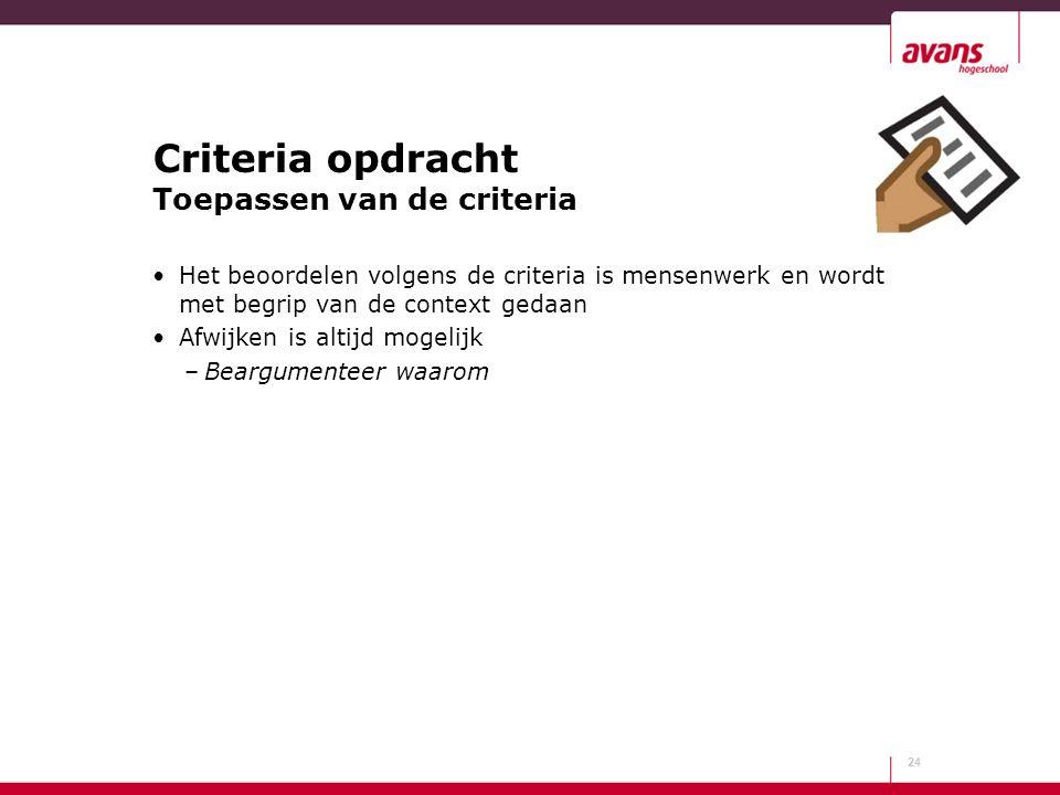Criteria opdracht Toepassen van de criteria