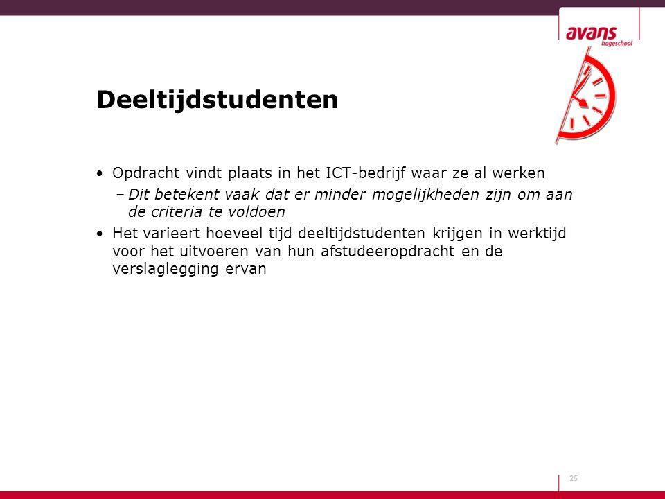 Deeltijdstudenten Opdracht vindt plaats in het ICT-bedrijf waar ze al werken.