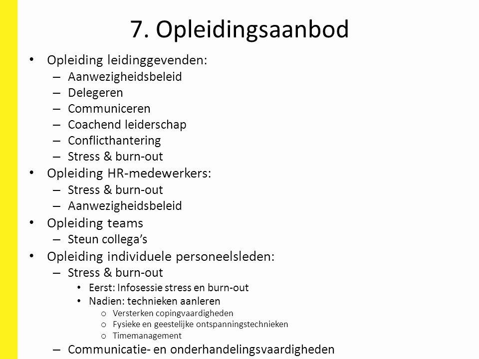 7. Opleidingsaanbod Opleiding leidinggevenden: