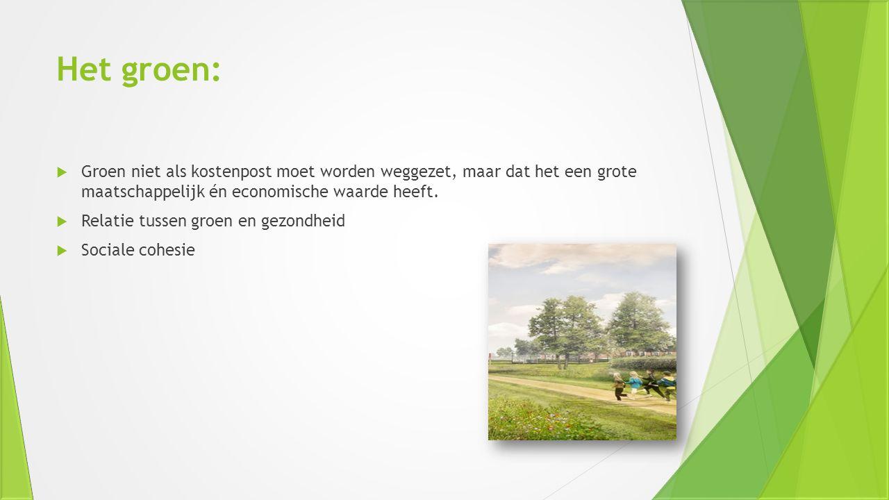 Het groen: Groen niet als kostenpost moet worden weggezet, maar dat het een grote maatschappelijk én economische waarde heeft.