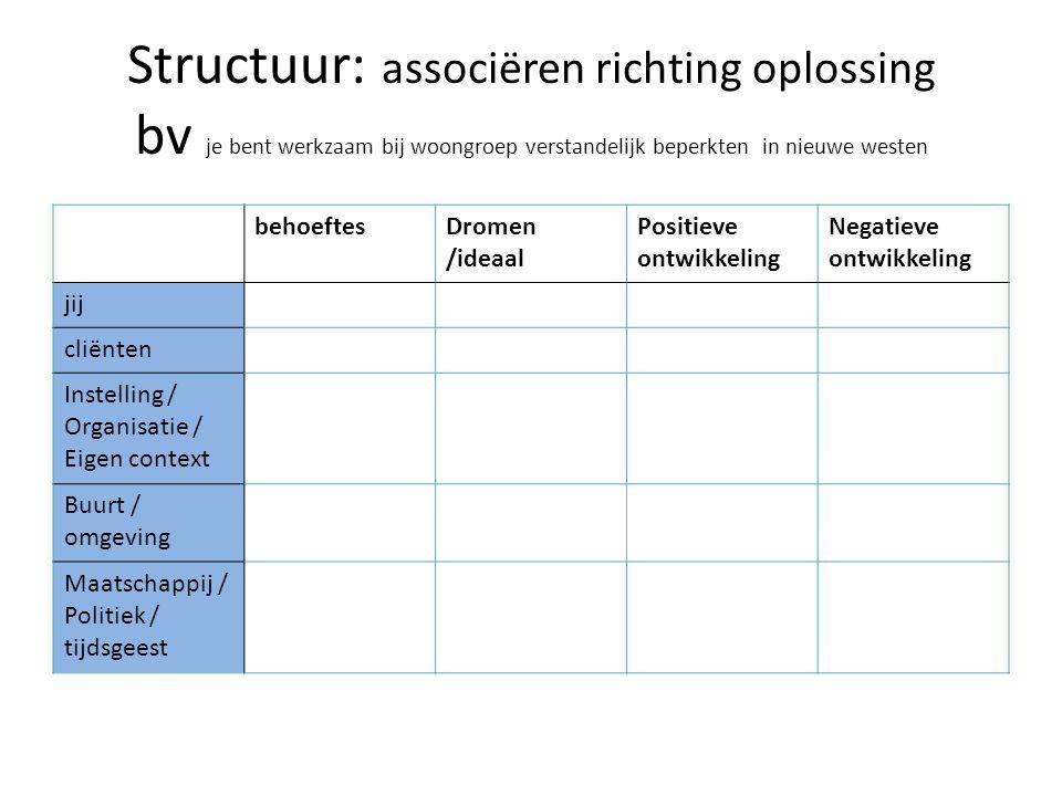 Structuur: associëren richting oplossing bv je bent werkzaam bij woongroep verstandelijk beperkten in nieuwe westen