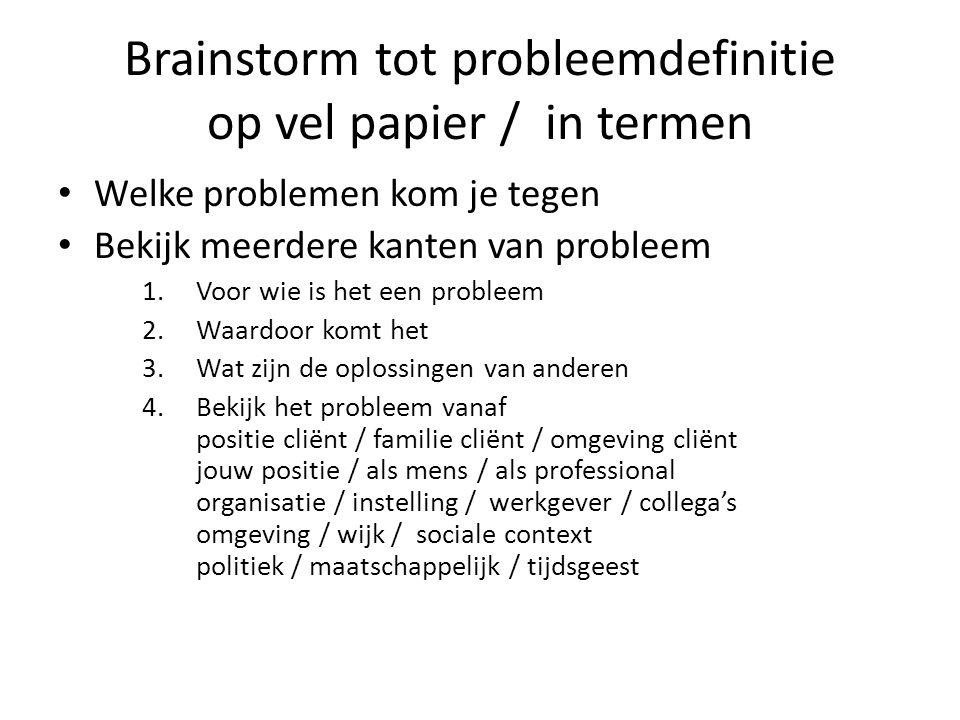 Brainstorm tot probleemdefinitie op vel papier / in termen