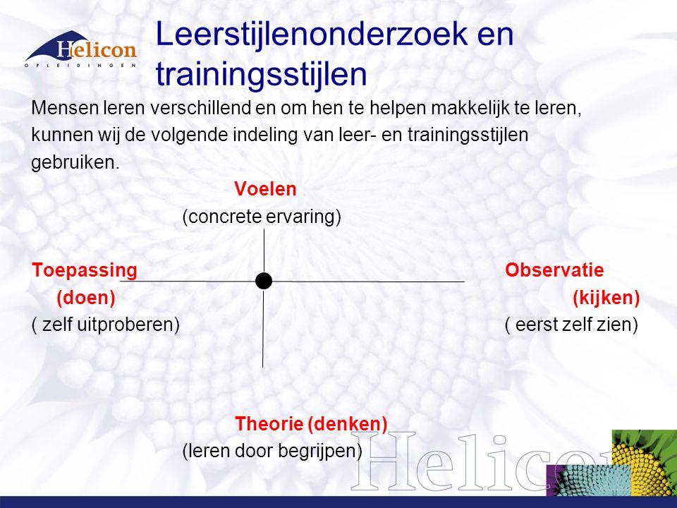 Leerstijlenonderzoek en trainingsstijlen