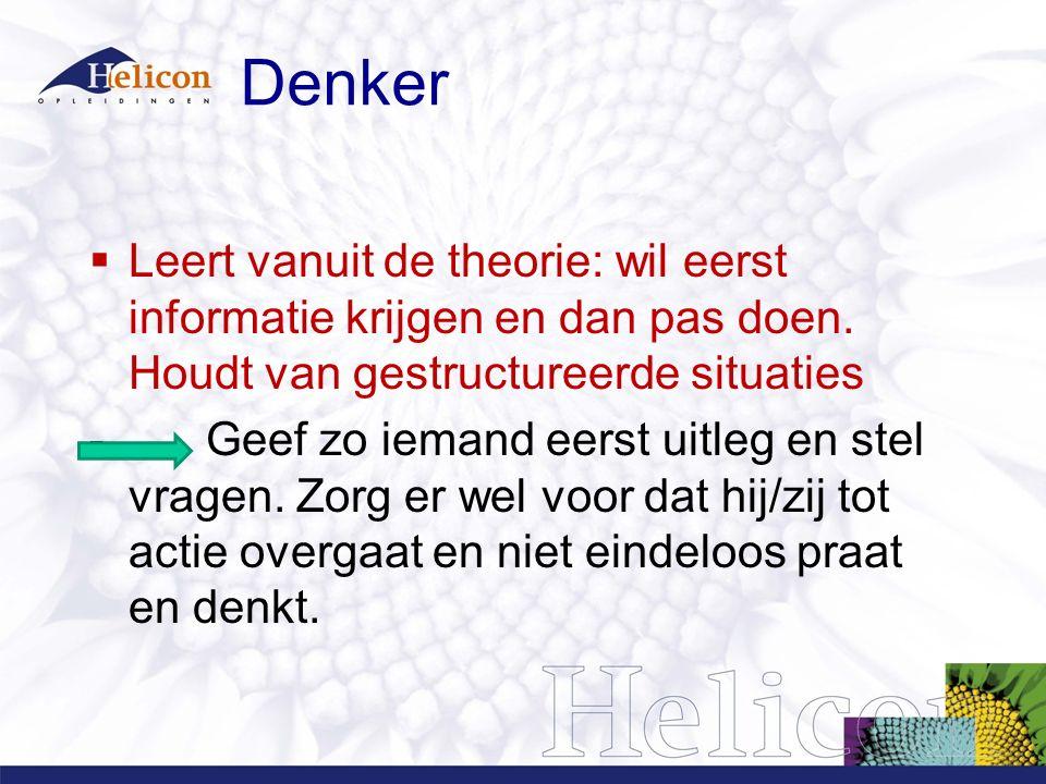 Denker Leert vanuit de theorie: wil eerst informatie krijgen en dan pas doen. Houdt van gestructureerde situaties.