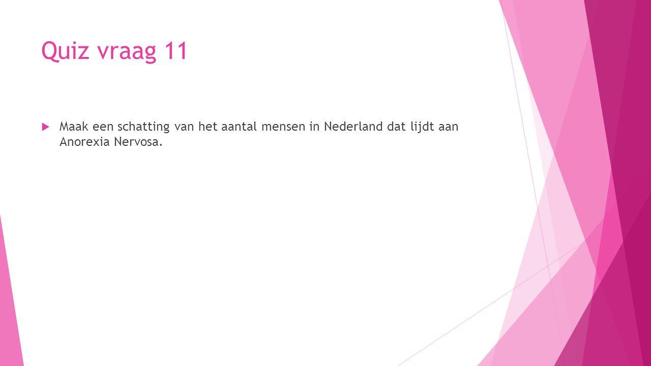 Quiz vraag 11 Maak een schatting van het aantal mensen in Nederland dat lijdt aan Anorexia Nervosa.