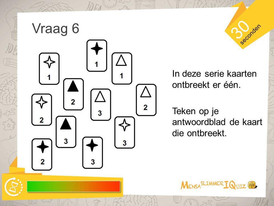 30 Vraag 6 In deze serie kaarten ontbreekt er één.