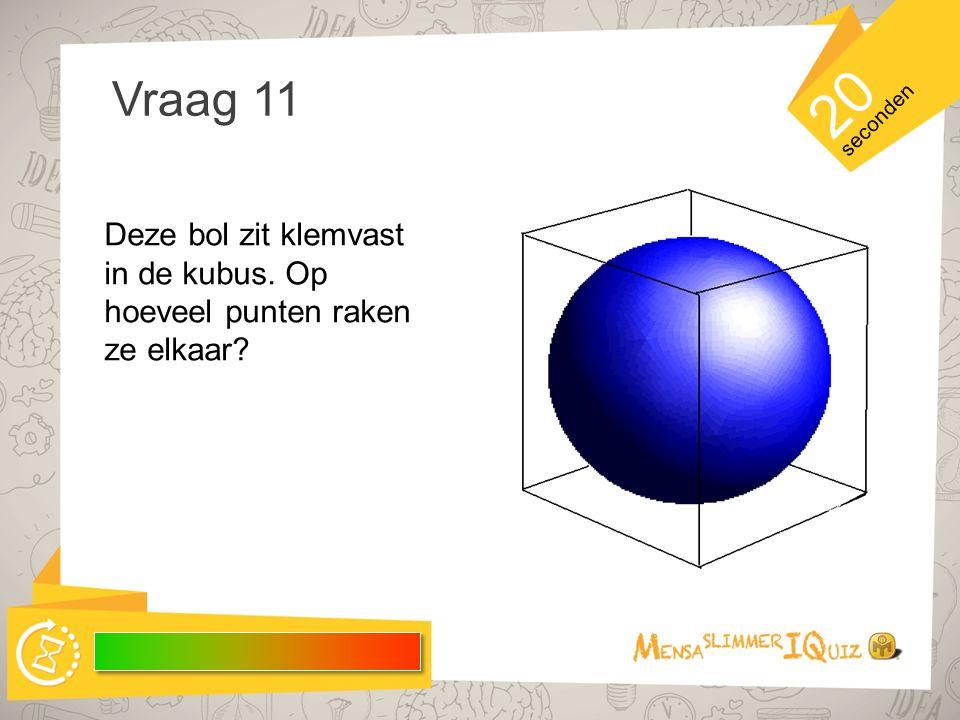 20 Vraag 11 seconden Deze bol zit klemvast in de kubus. Op hoeveel punten raken ze elkaar