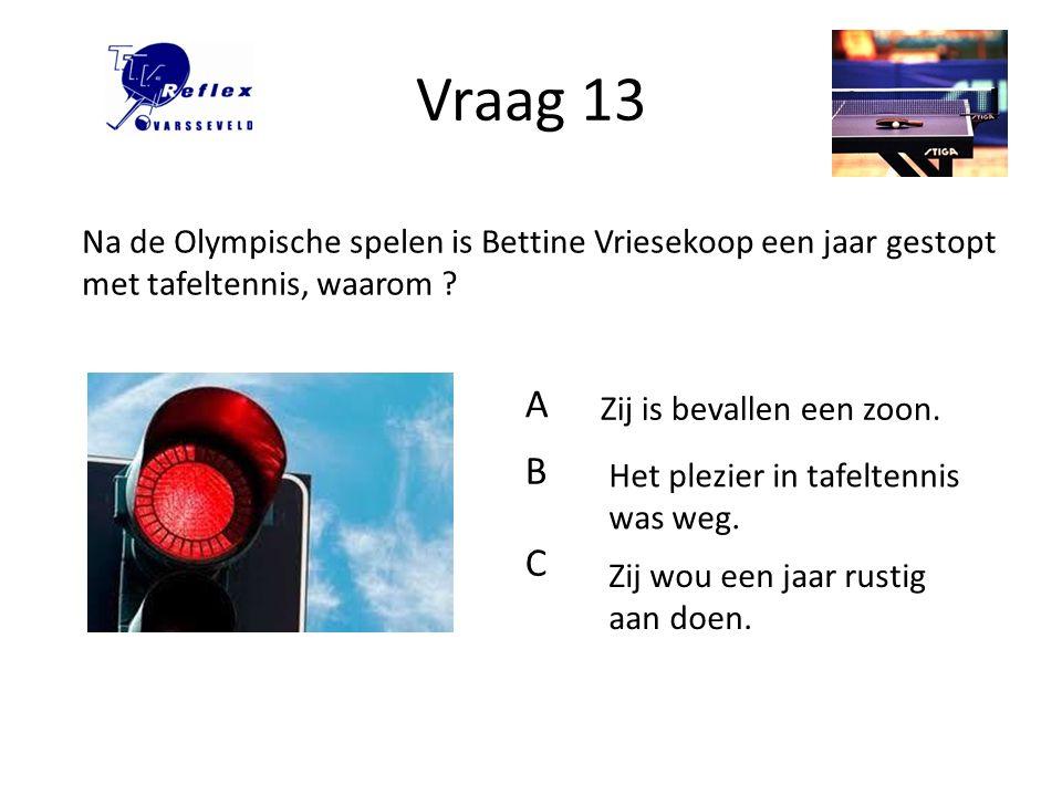Vraag 13 Na de Olympische spelen is Bettine Vriesekoop een jaar gestopt met tafeltennis, waarom A.