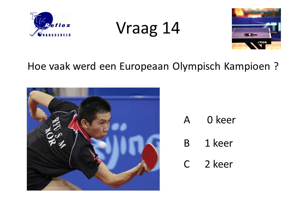 Vraag 14 Hoe vaak werd een Europeaan Olympisch Kampioen A 0 keer B