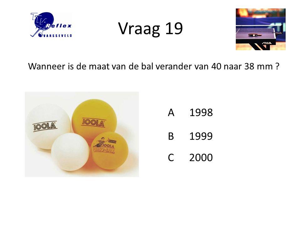 Vraag 19 Wanneer is de maat van de bal verander van 40 naar 38 mm A 1998 B 1999 C 2000