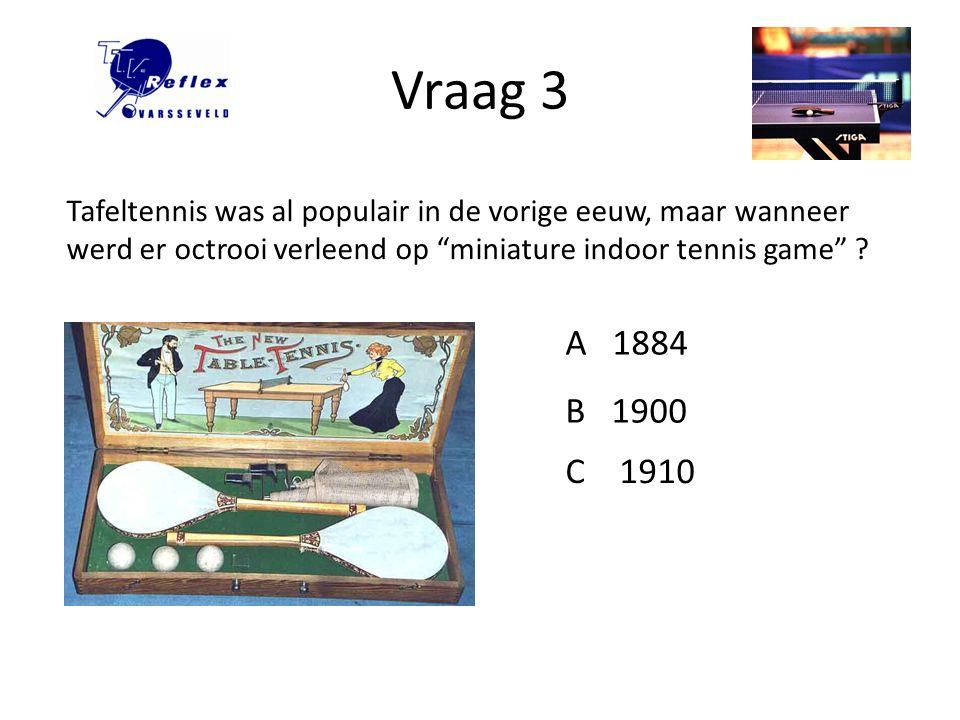 Vraag 3 Tafeltennis was al populair in de vorige eeuw, maar wanneer werd er octrooi verleend op miniature indoor tennis game