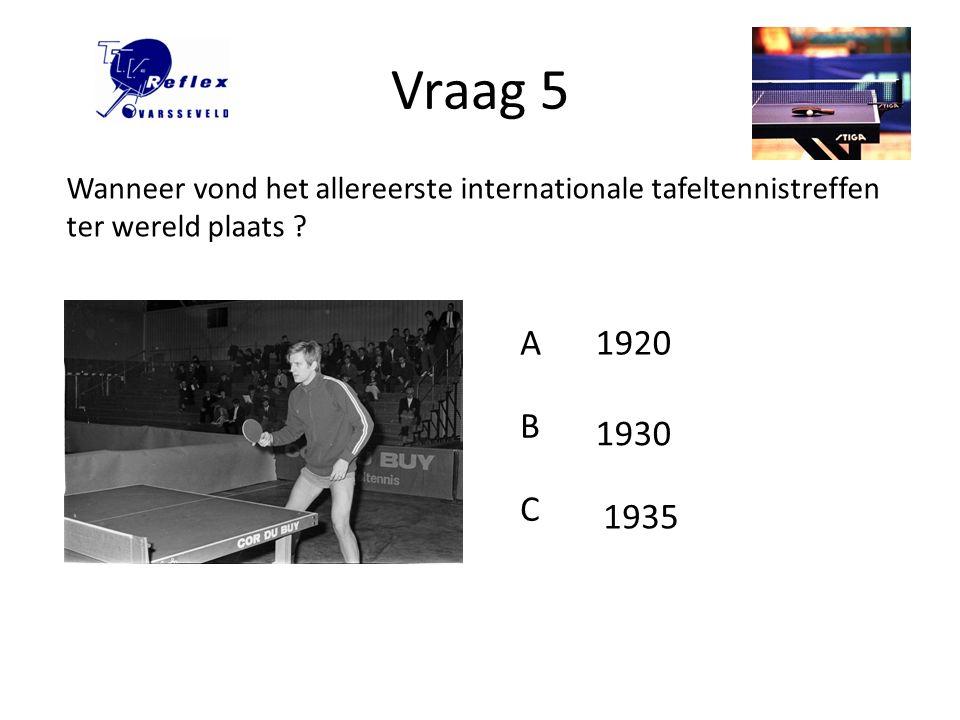 Vraag 5 Wanneer vond het allereerste internationale tafeltennistreffen ter wereld plaats A. 1920.