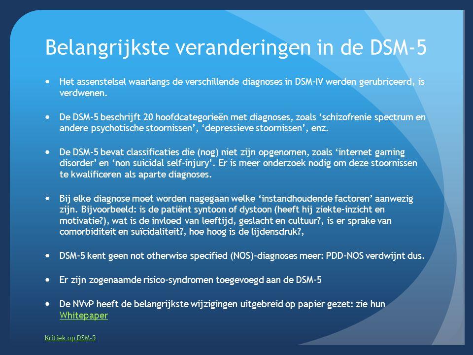 Belangrijkste veranderingen in de DSM-5