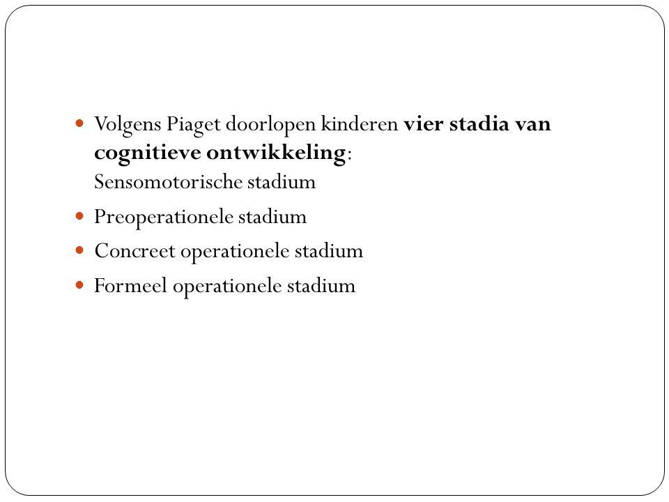 Volgens Piaget doorlopen kinderen vier stadia van cognitieve ontwikkeling: Sensomotorische stadium