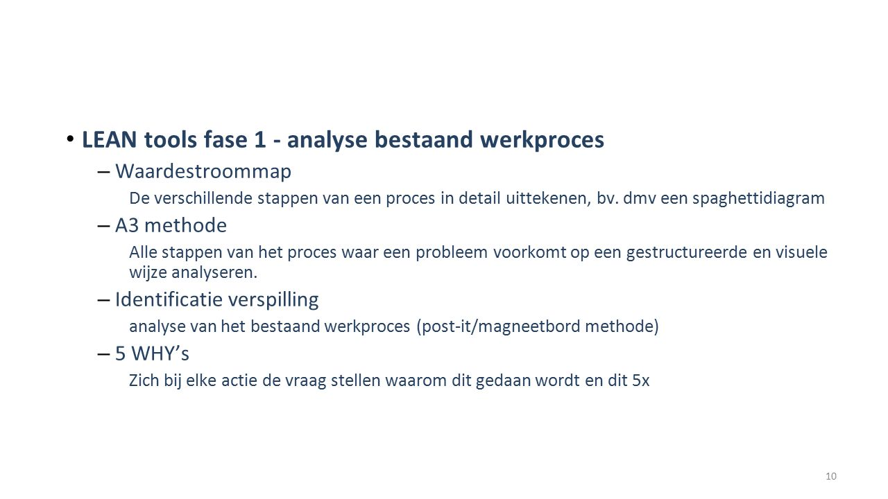 LEAN tools fase 1 - analyse bestaand werkproces