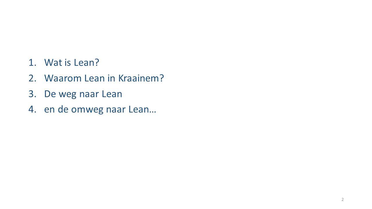 Wat is Lean Waarom Lean in Kraainem De weg naar Lean en de omweg naar Lean…