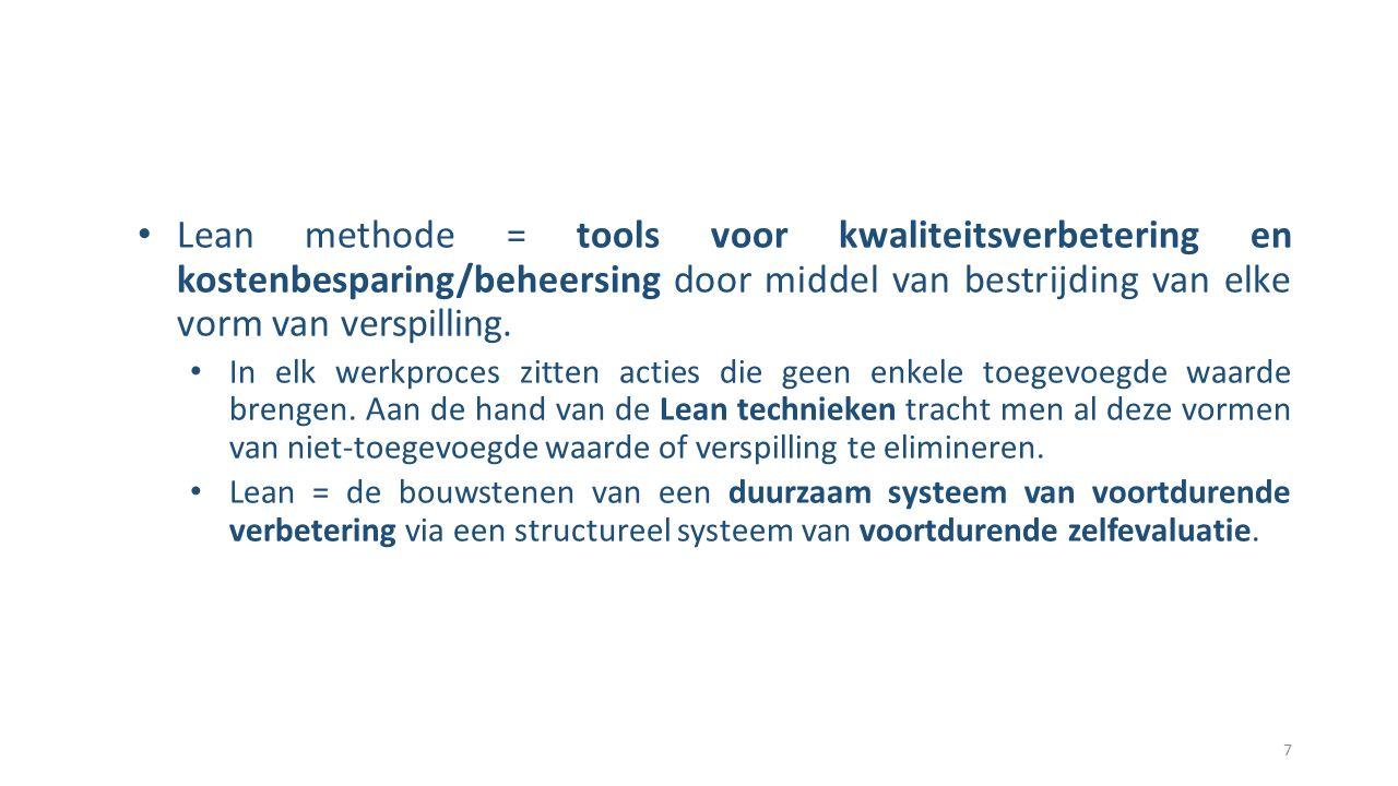 Lean methode = tools voor kwaliteitsverbetering en kostenbesparing/beheersing door middel van bestrijding van elke vorm van verspilling.