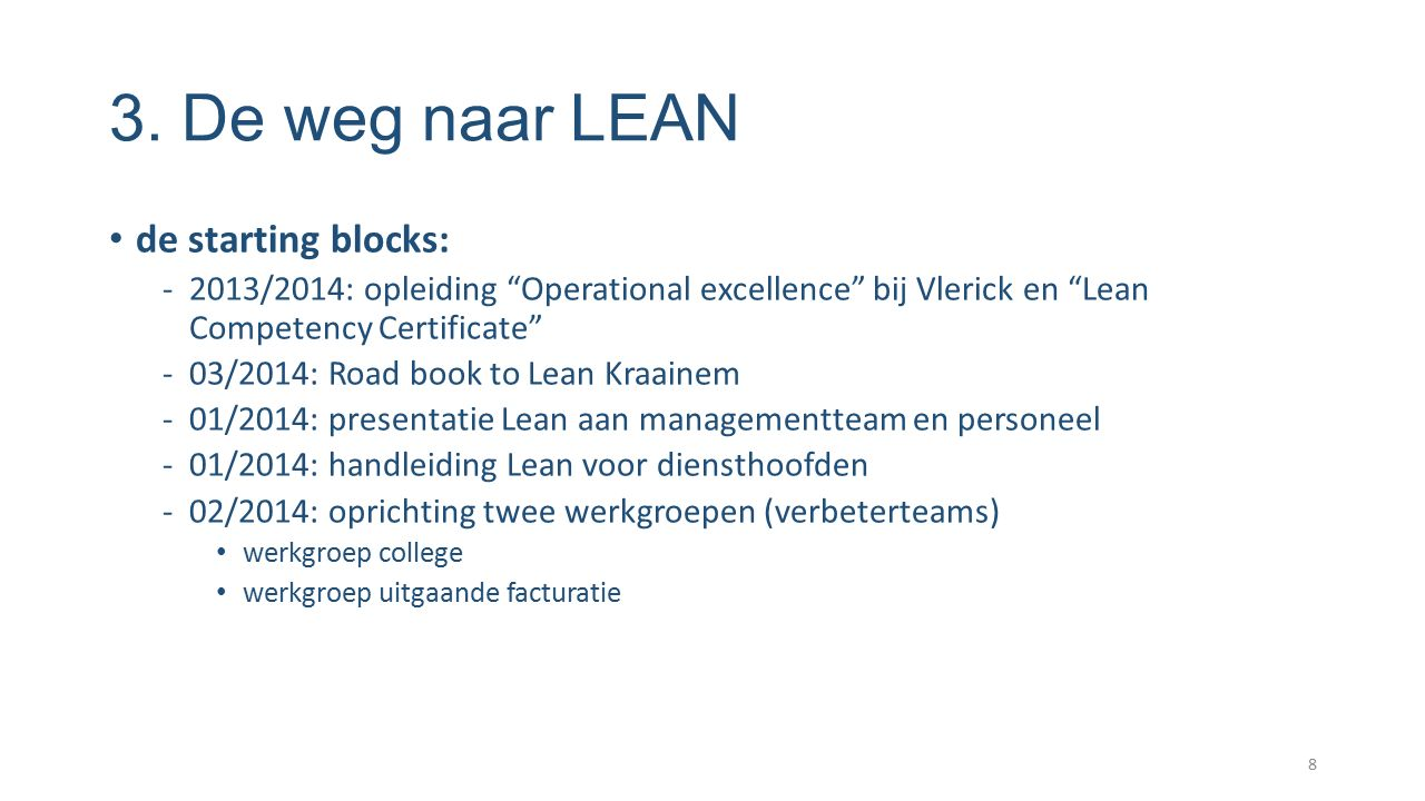 3. De weg naar LEAN de starting blocks: